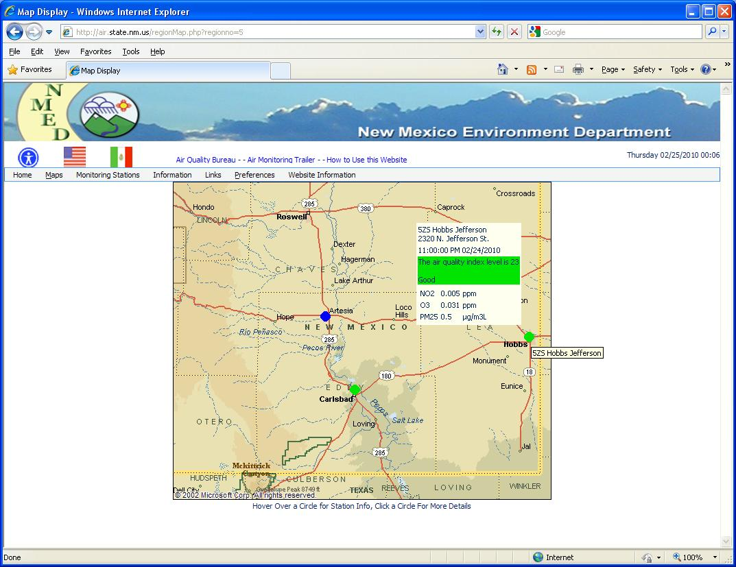 "Envitech Europe EnviWeb Regional Map-Example for Region Map of ""Southeastern New Mexico"" region. The spots indicate the stations,and thier color indicates the air quality index. In this example the mouse is now over the ""525 Hobbs Jefferson"" state.Clicking on this symbol will display the station information screen of this AQM/CEM Station."